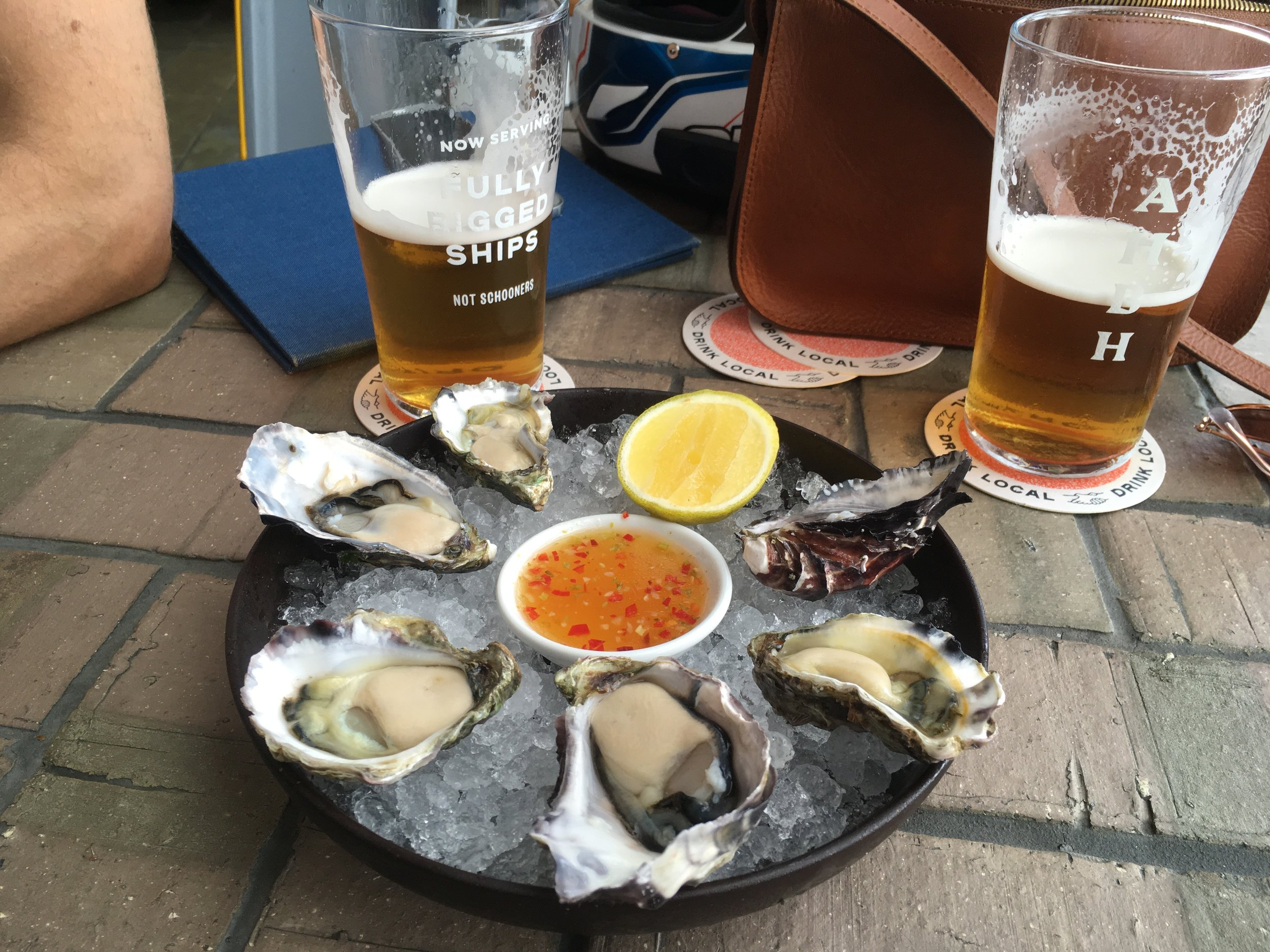 Sydney rock oysters with ginger chili sauce. Muah!