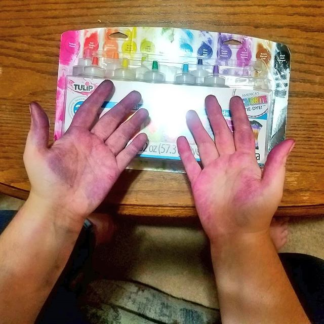 Writing Club is tie dying our club shirts tomorrow. Did a test round and I thought I was too cool for gloves. ... Hubris. That's what this is.