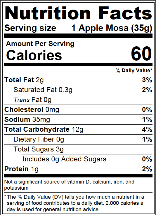 *Apple Mosa nutrition facts based on 1 Apple Mosa (35g)