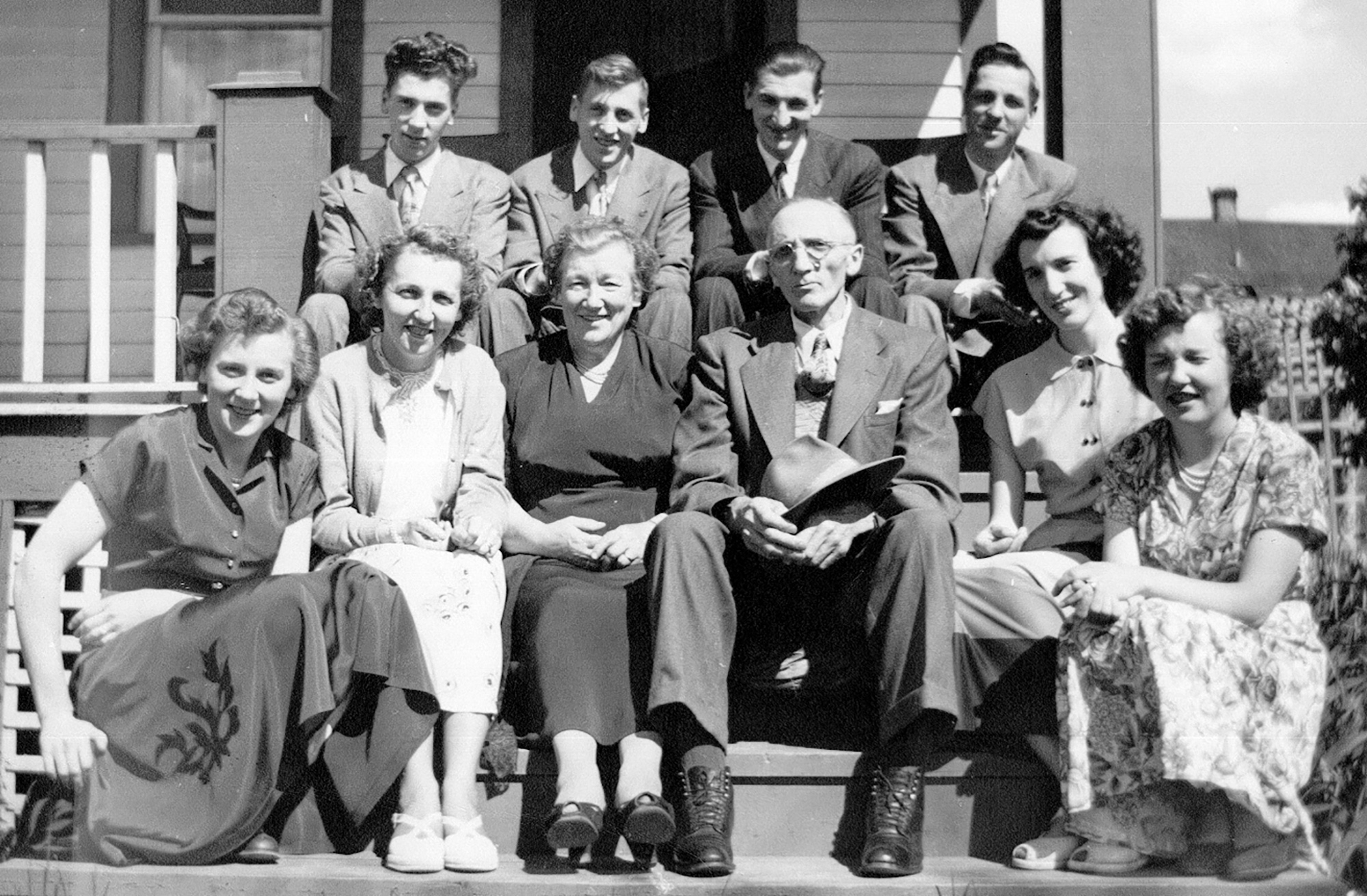 The Askew Family in 1951. Back L to R: Don, Gordon, David and Lloyd. Front L to R: Winnifred, Margery, parents Mary and R.B. (Dick), Marion and Doreen