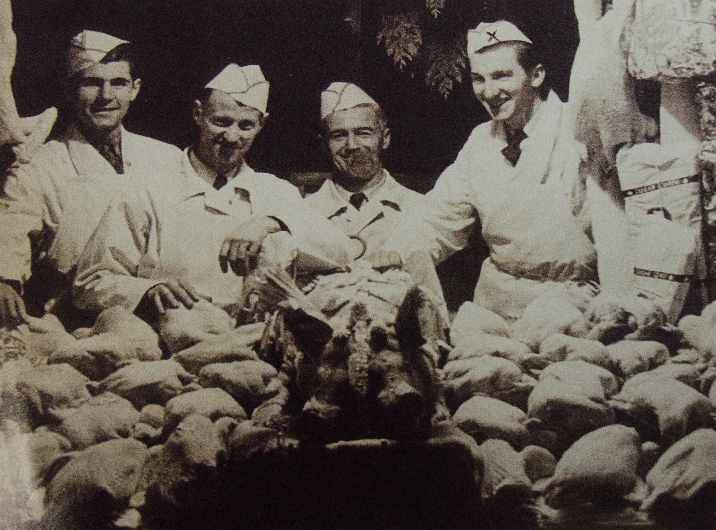 David Askew (far Right) with prize turkeys