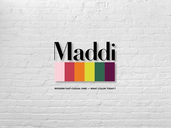 Maddi. What color today? — modern fast-casual fare in the heart of the Flat Iron district NYC. Personalized takeaways with your order and so much more. So what's your color today? #graphicdesign #branding #restaurantdesign #artdirection #collaboration