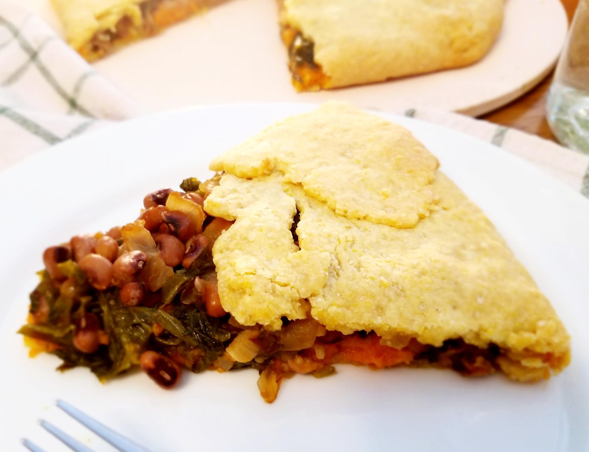Black-Eyed Peas, Greens and Sweet Potato Galettejpg
