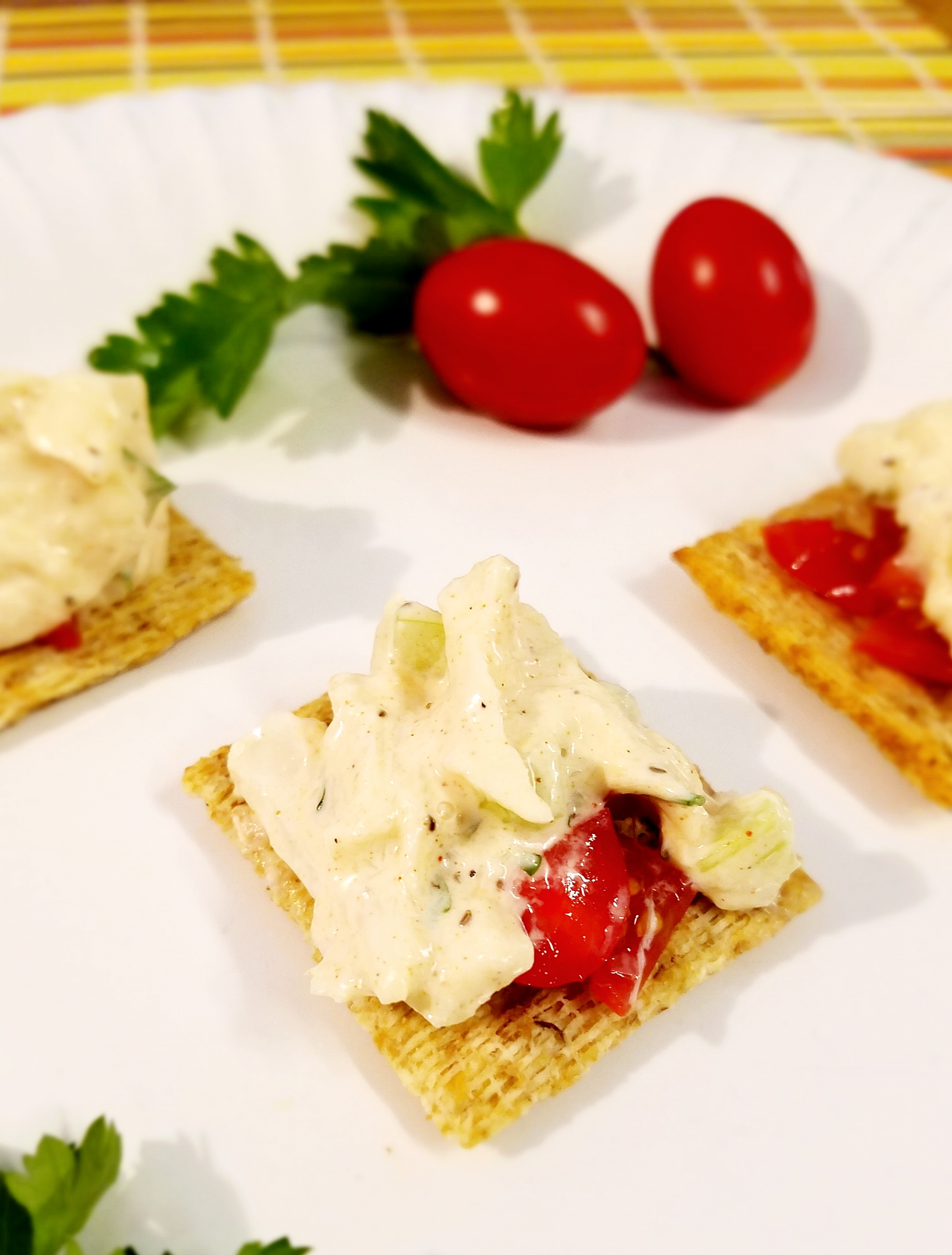Vegan Crab Salad on crackers.
