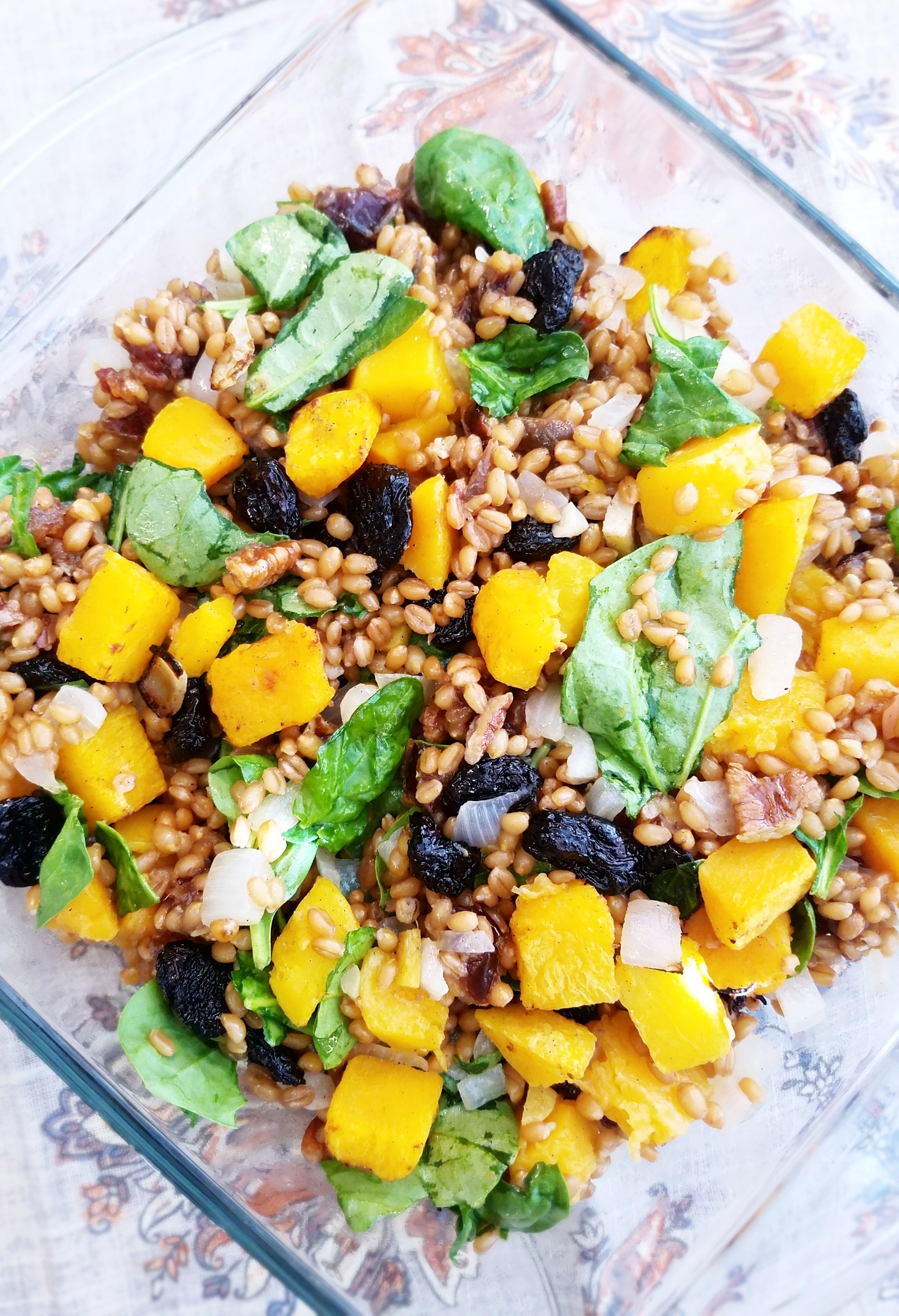 Butternut Squash with Dried Cherries and Winter Wheat Berries