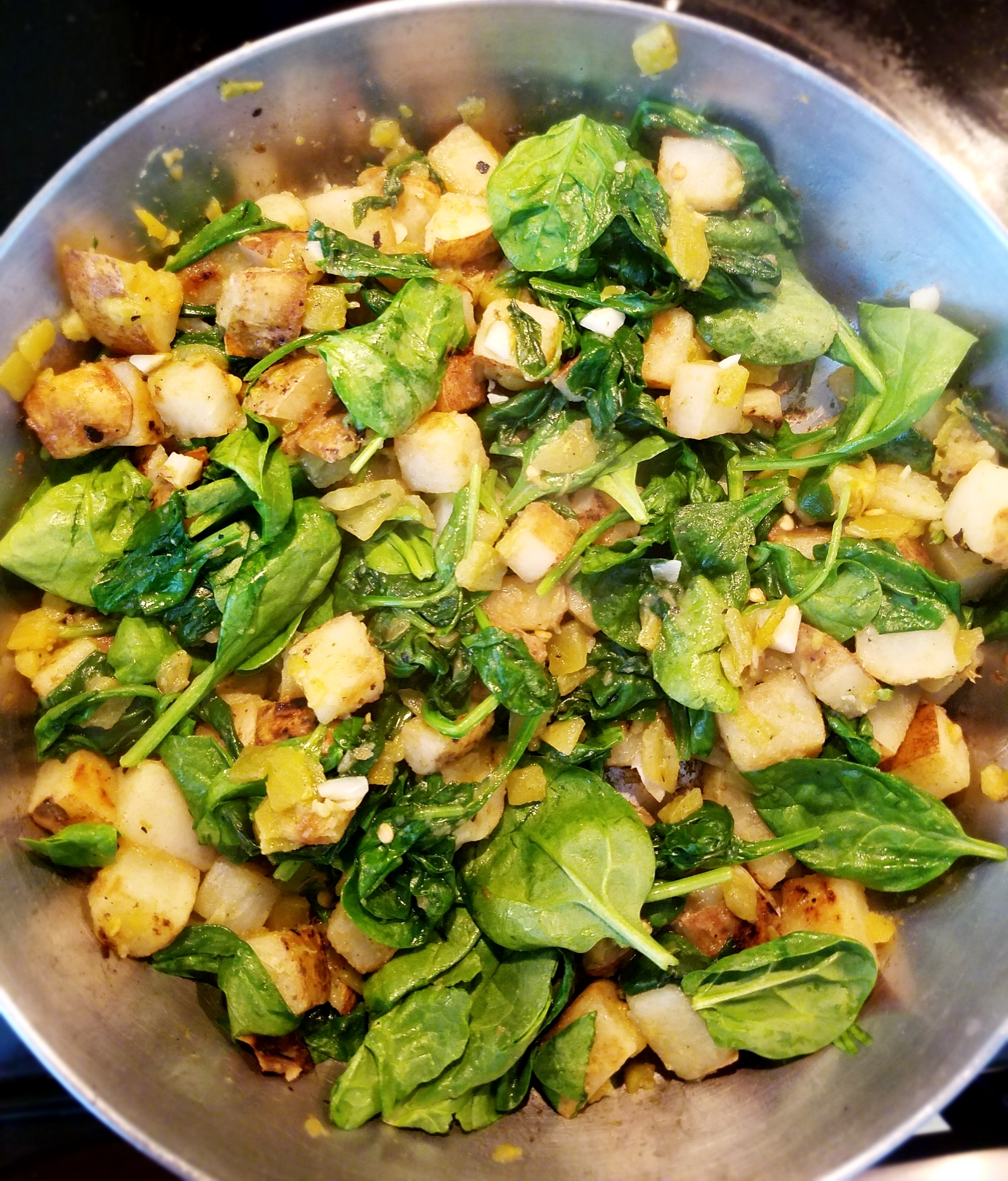 Fried Potatoes with Green Chiles and Spinach