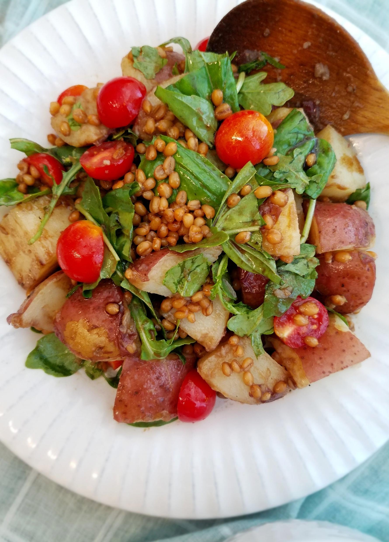 Balsamic Potato Salad with Fresh Basil, Cherry Tomatoes and Wheat Berries