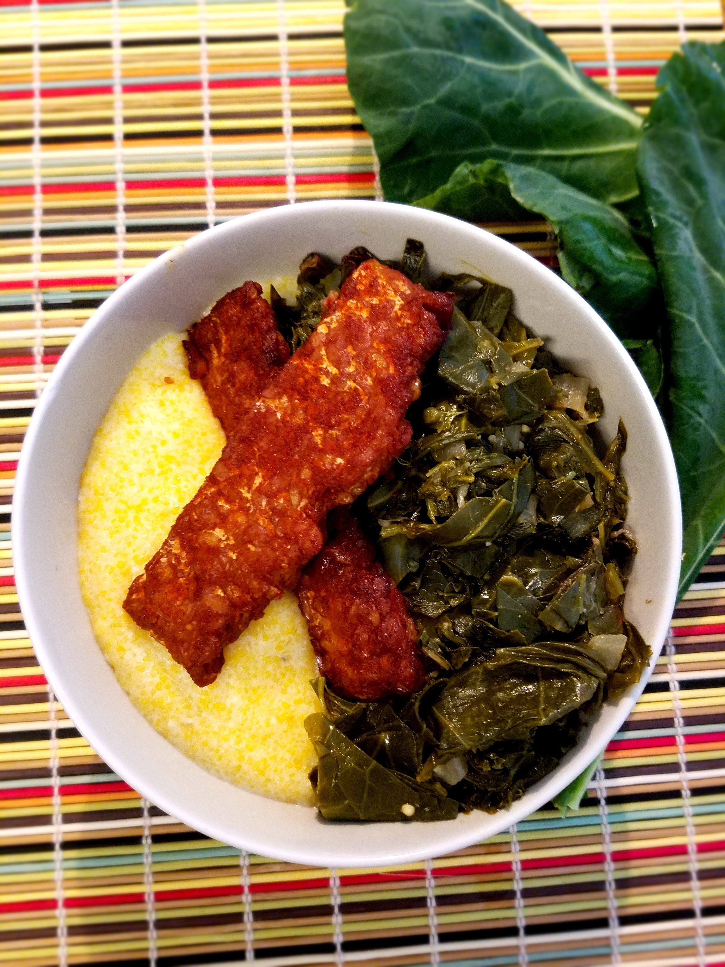 Vegan Cheese Grits with Tempeh Bacon and Greens.jpg