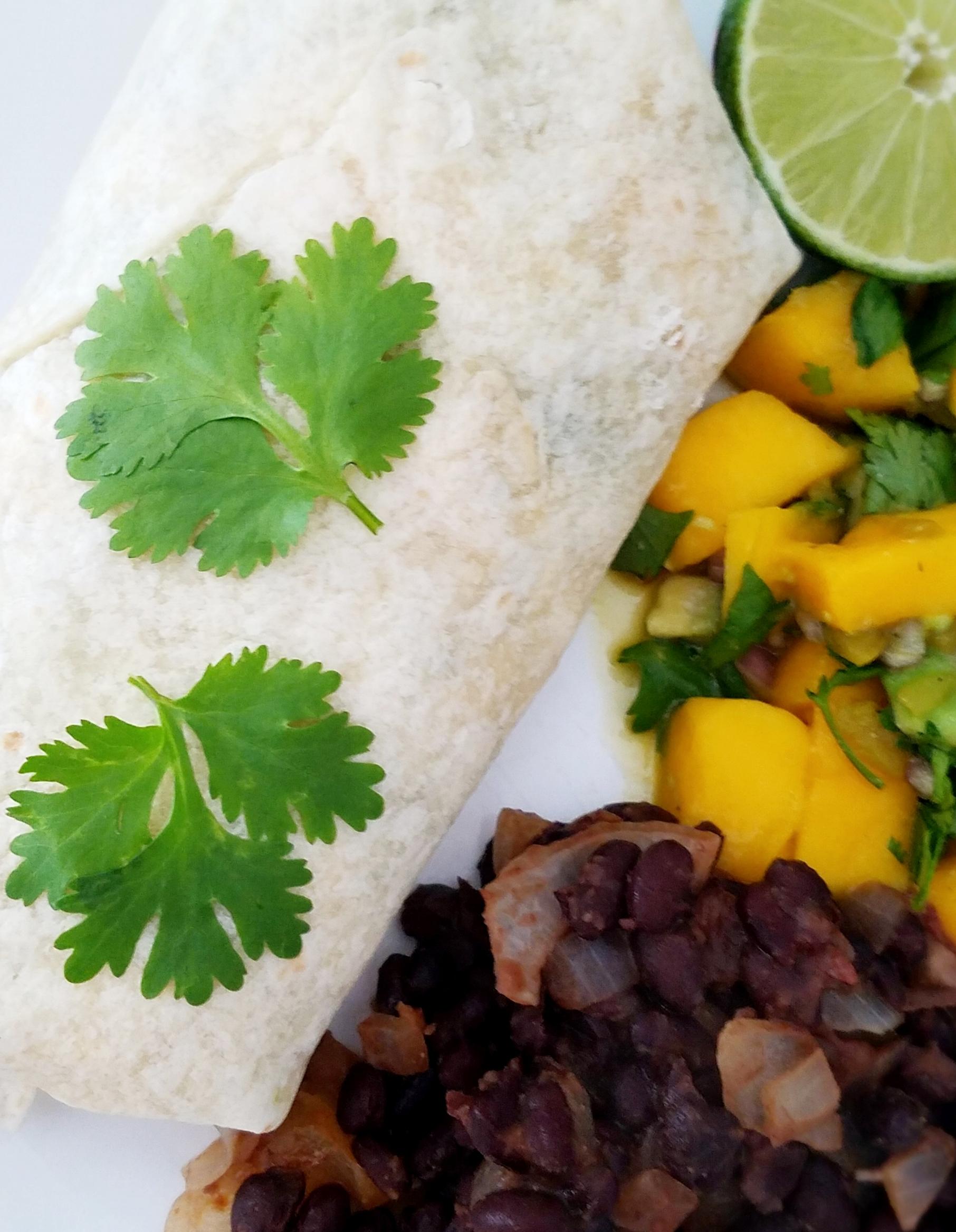 Mango Black Bean Burritos