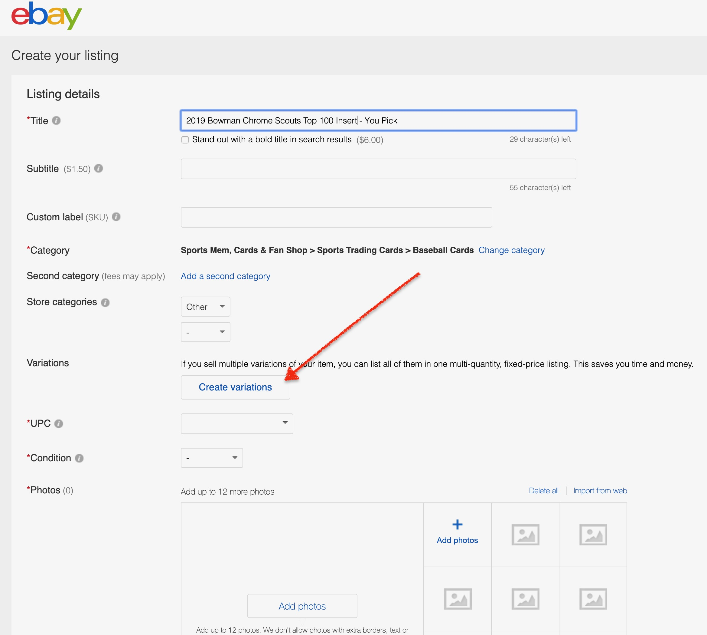 Simple Guide To Creating An Ebay Variation Listing Waxpackhero