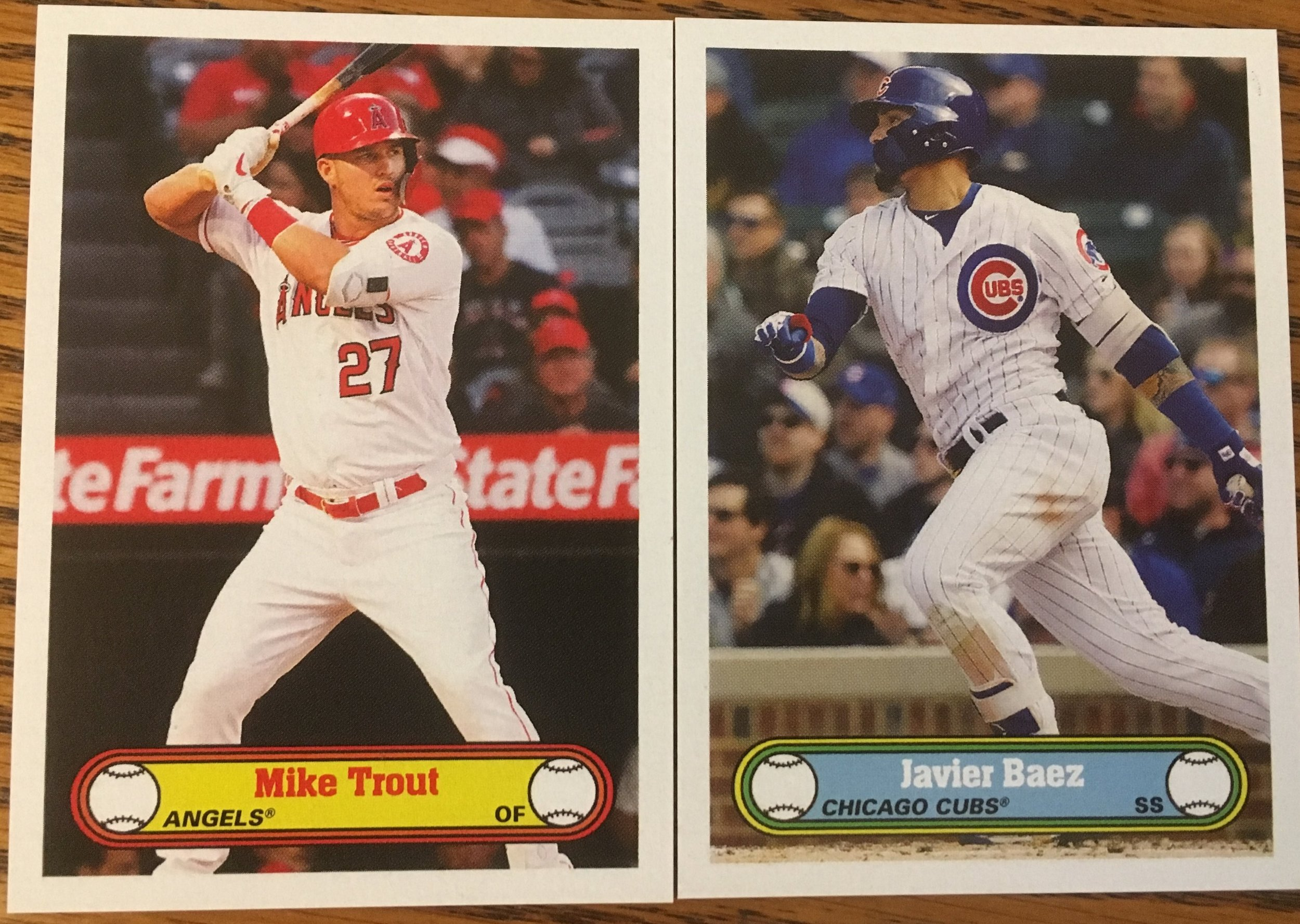 2019 Topps 582 Montgomery Club Set 3 cards of Mike Trout and Javy Baez