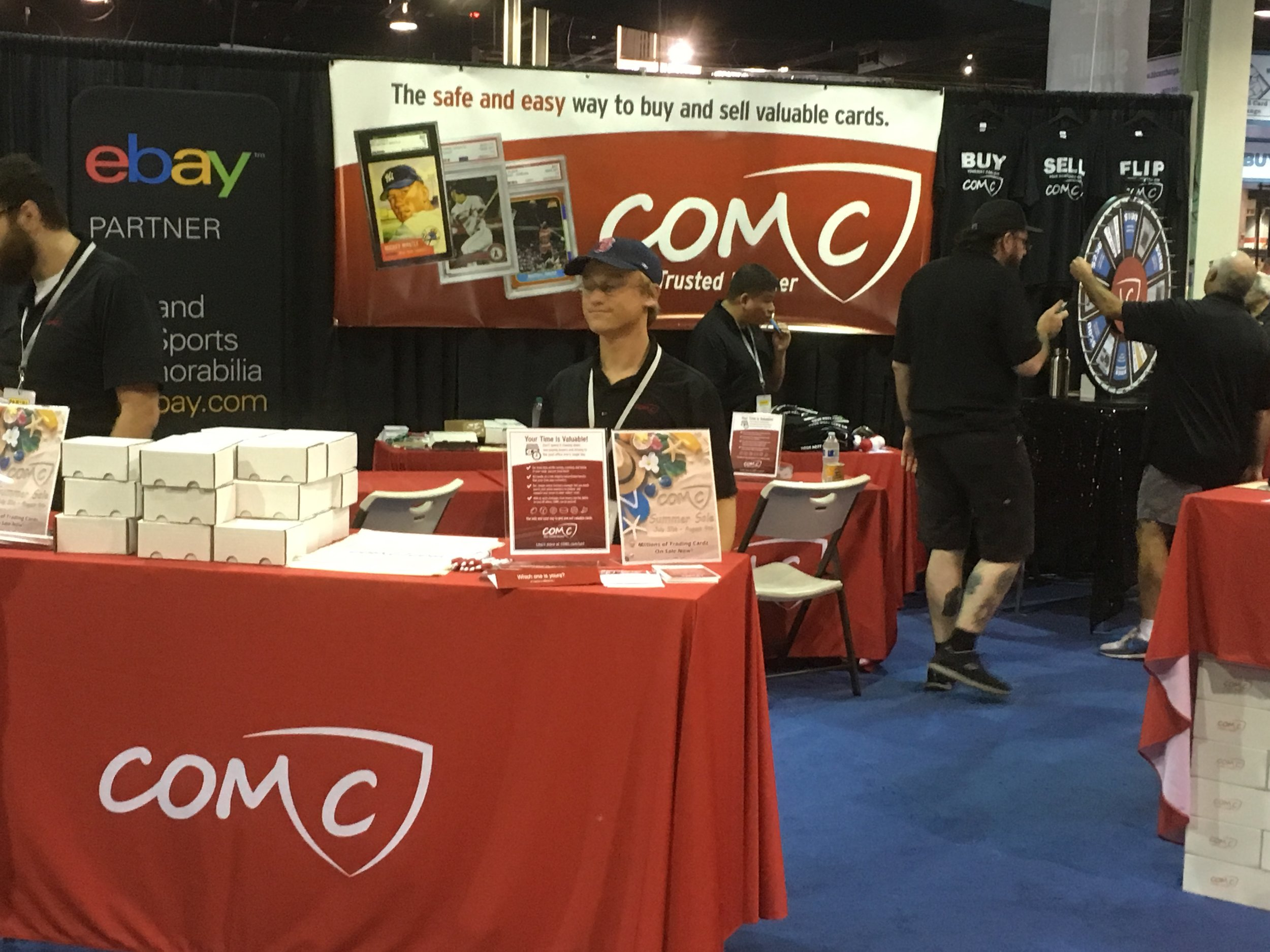 The COMC team was set up and ready to discuss the site with attendees.  A record number of submissions were dropped off by consigners during the show.