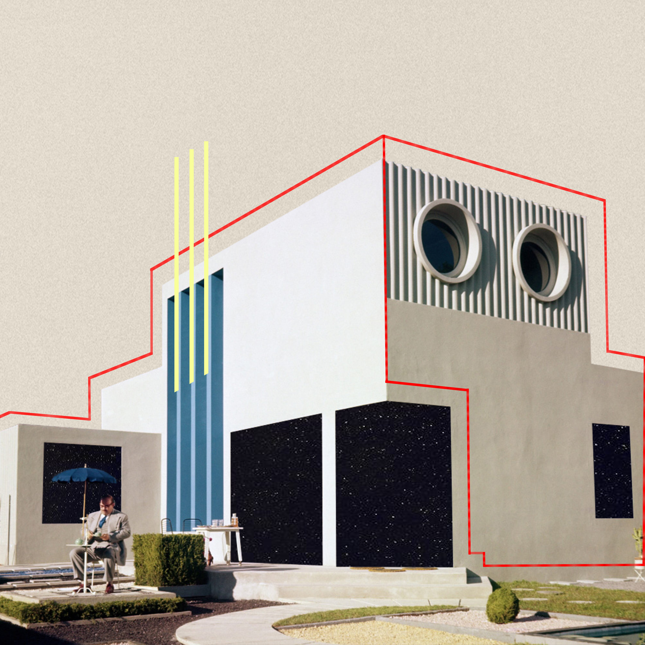 hauselav - house from «Mon Oncle» which I first saw at Home Futures exhibition at Design Museum month ago, inspiration drawn from Alexey Bogolepov's work of reflection of Soviet Era buildings