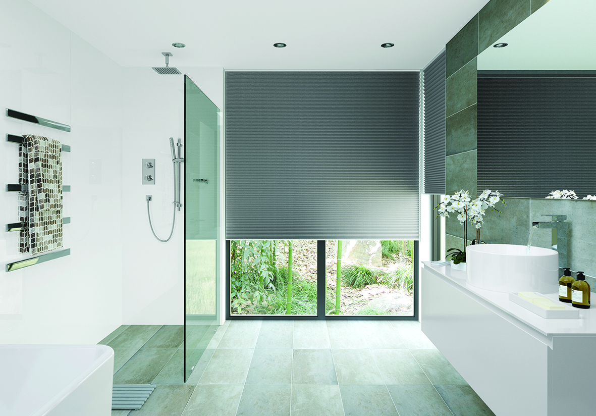 Pleated blind in Topaz Slate