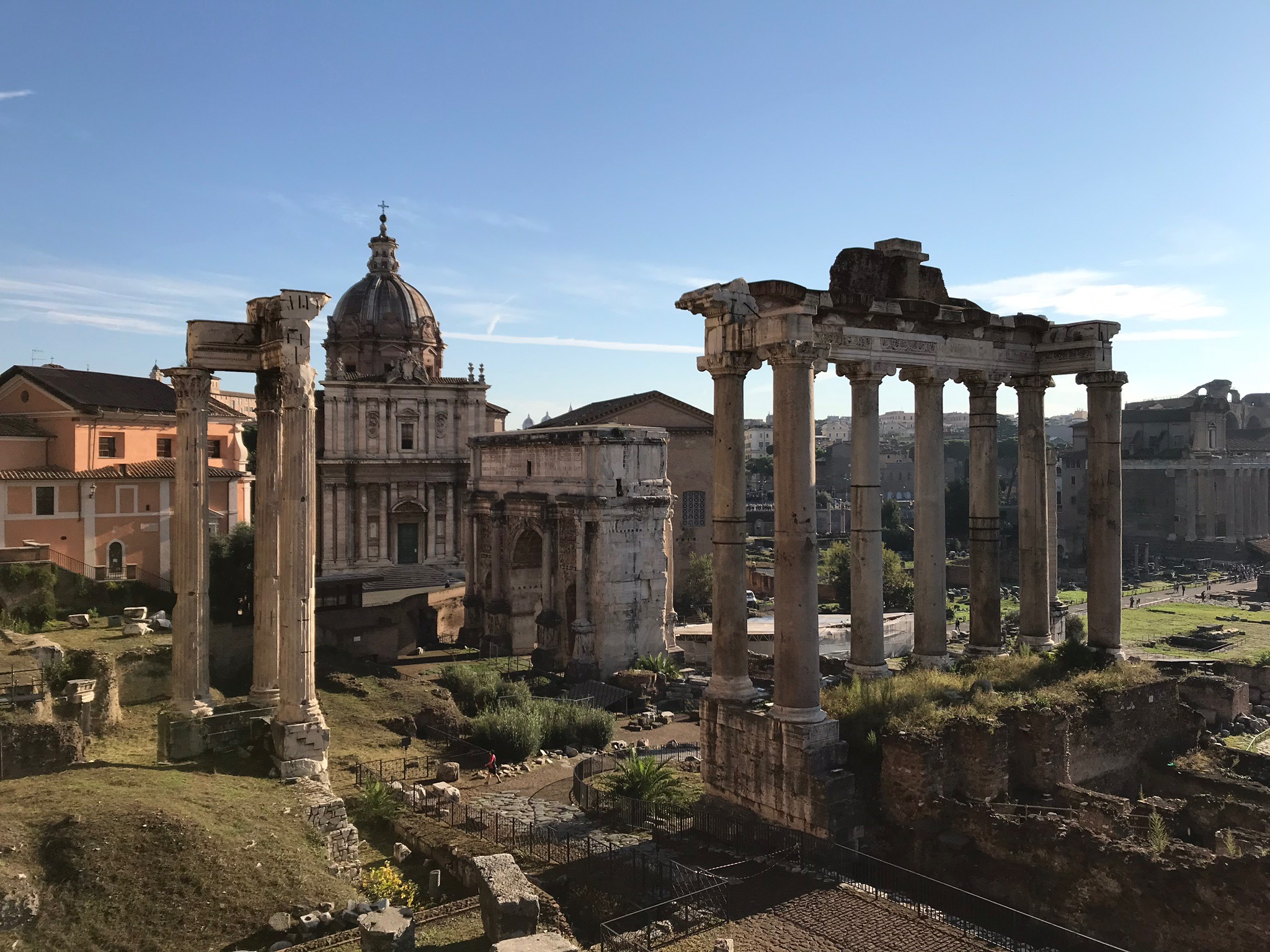 View of the Temple of Saturn at the Roman Forum