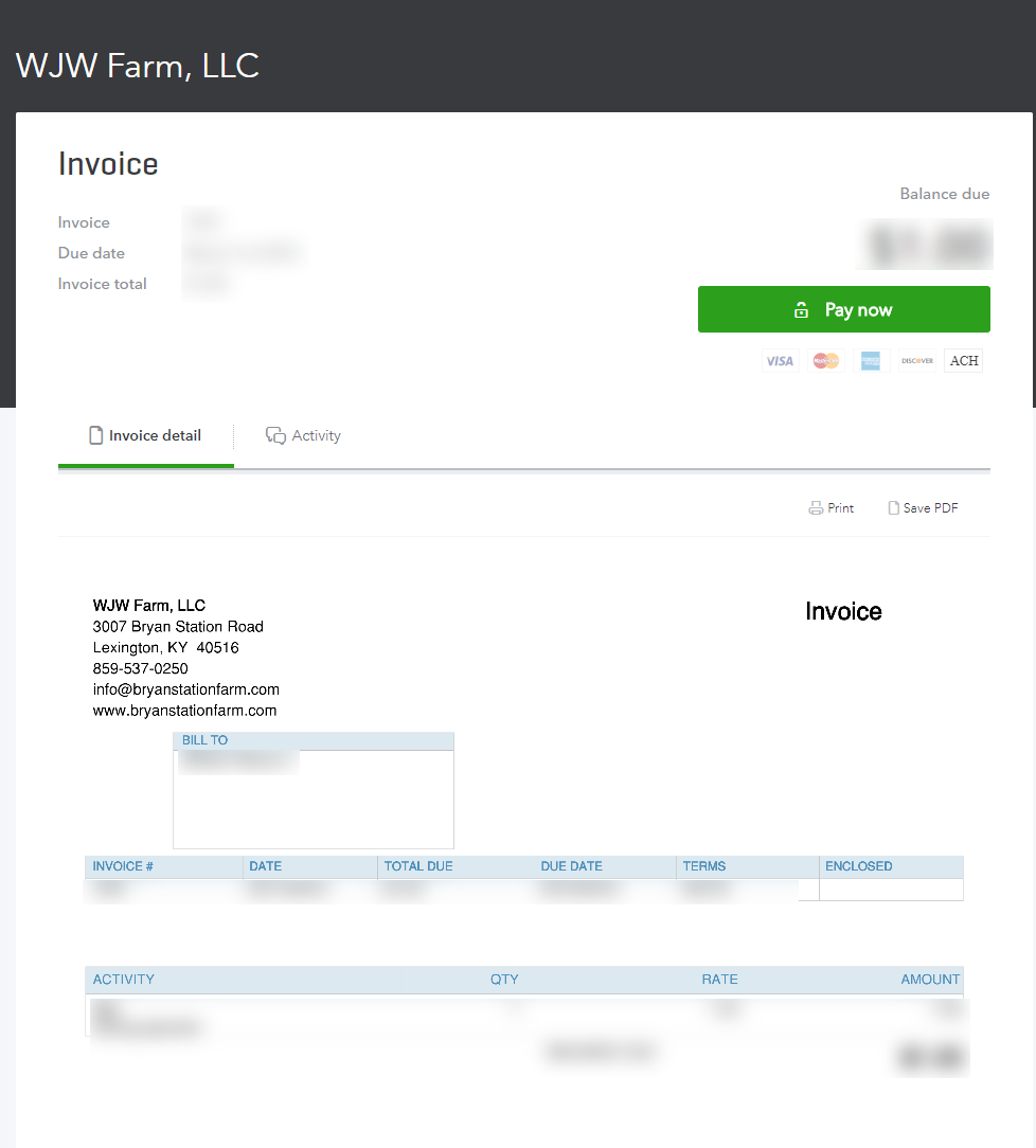 Invoice page - This will list all details about what is due, for what level of service.