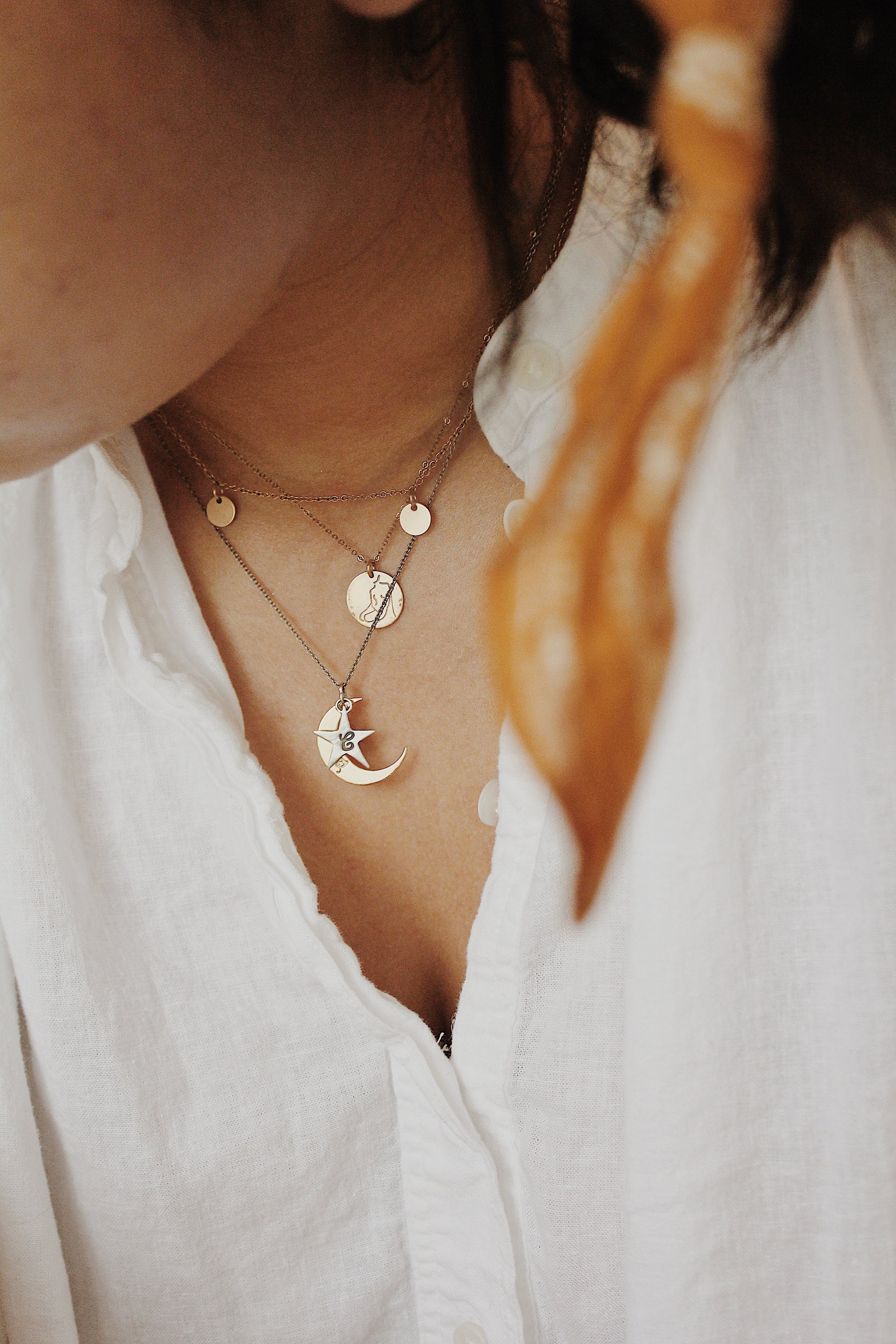From top to bottom: Tumble Five Dot Collar (unavailable but similar option  here ) // GLDN  Poise from La Femme Collection Necklace  // Catbird  You are my Moon and Stars Necklace