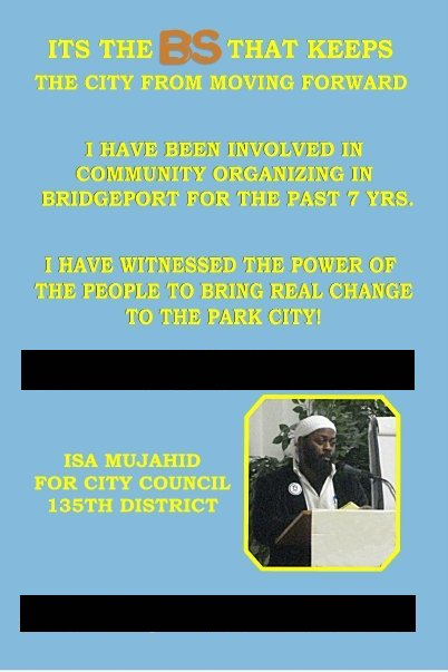 Side B of a palm card from my 2009 Bridgeport City Council Campaign