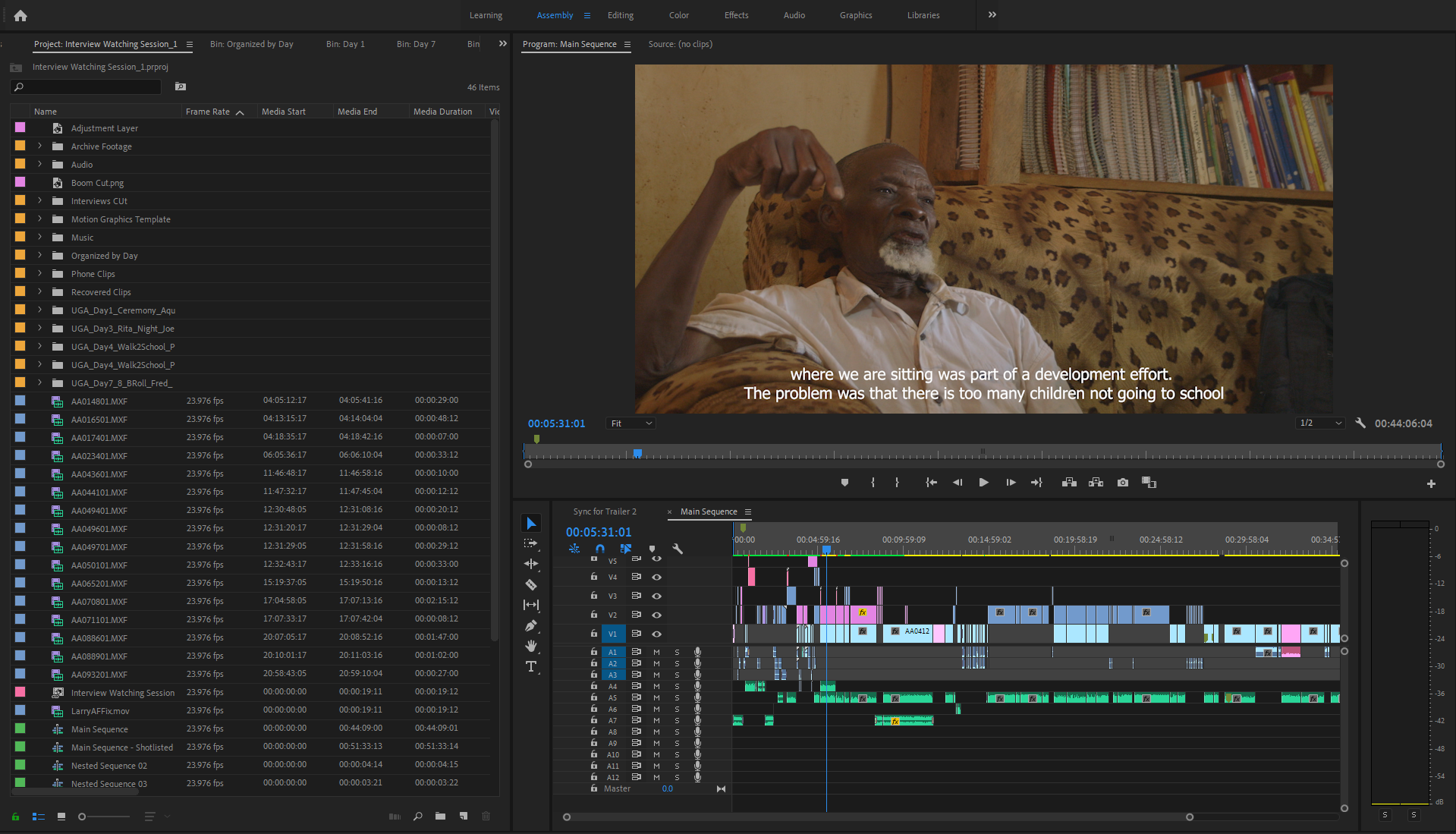 """Center Of Hope"" Editing Timeline - Image of Former Chairman of Masese"