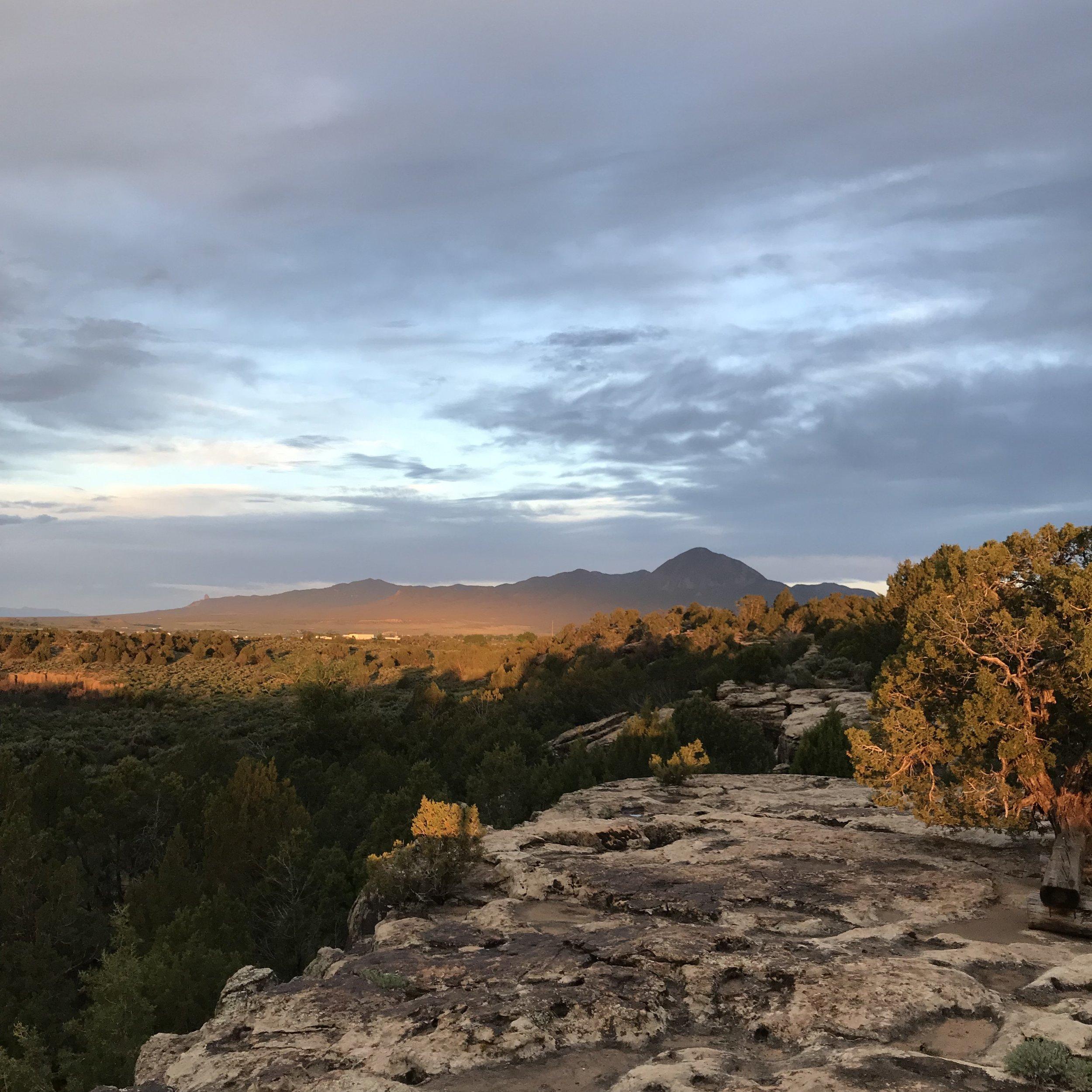 View of Sleeping Ute Mountain at sunrise
