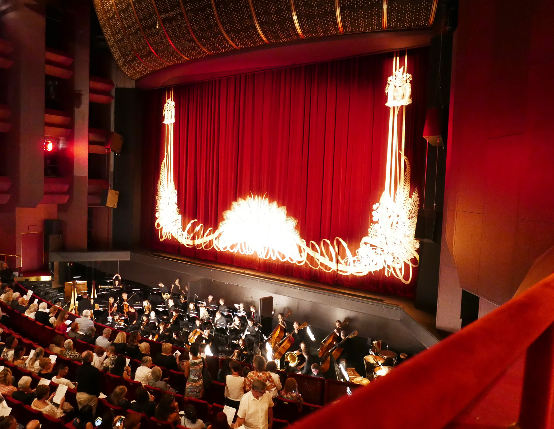 View of the stage from accessible seating (Row GG - State Theatre).