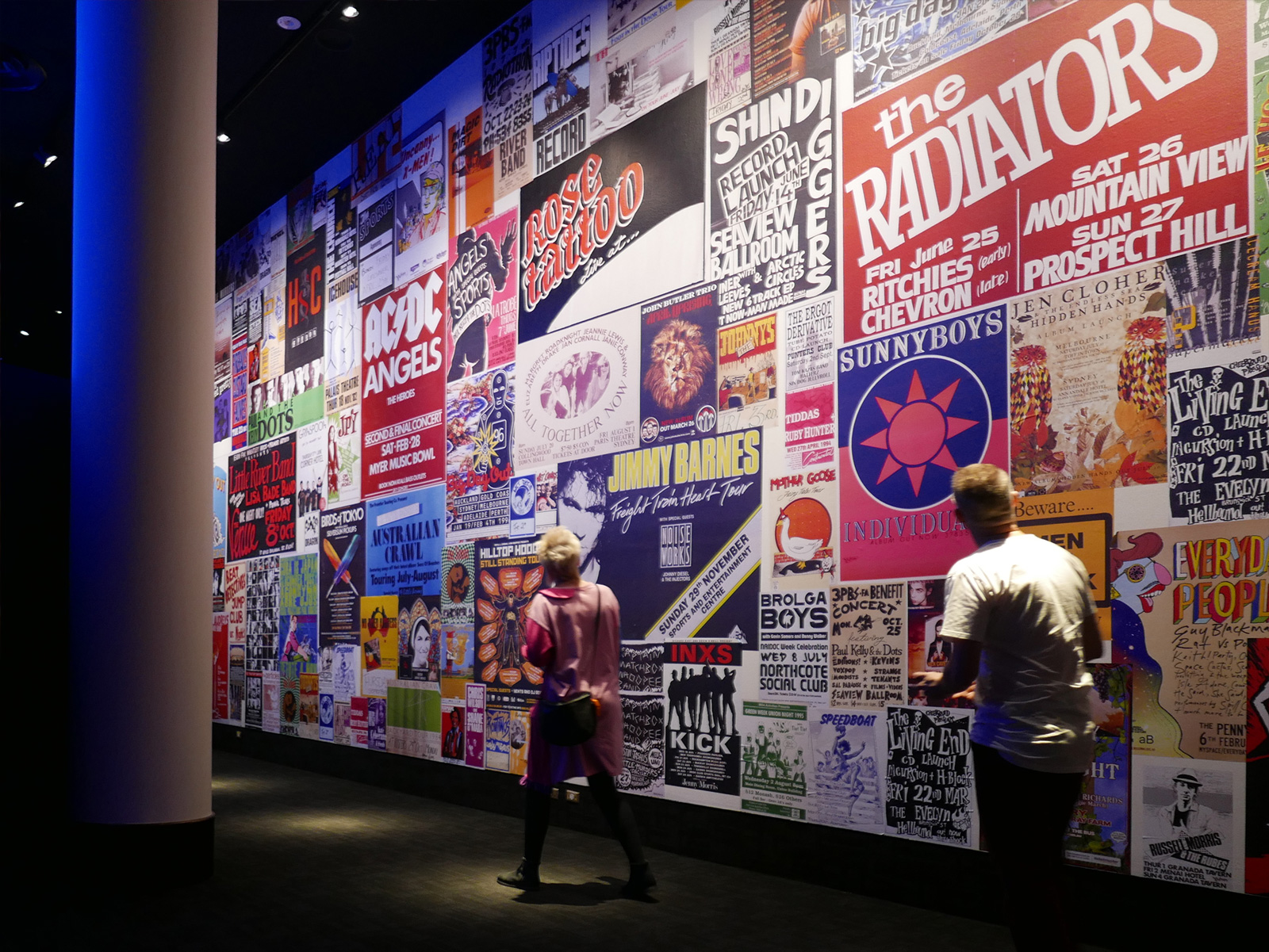 Posters cover a wall of the Australian Music Vault (Gallery 1).