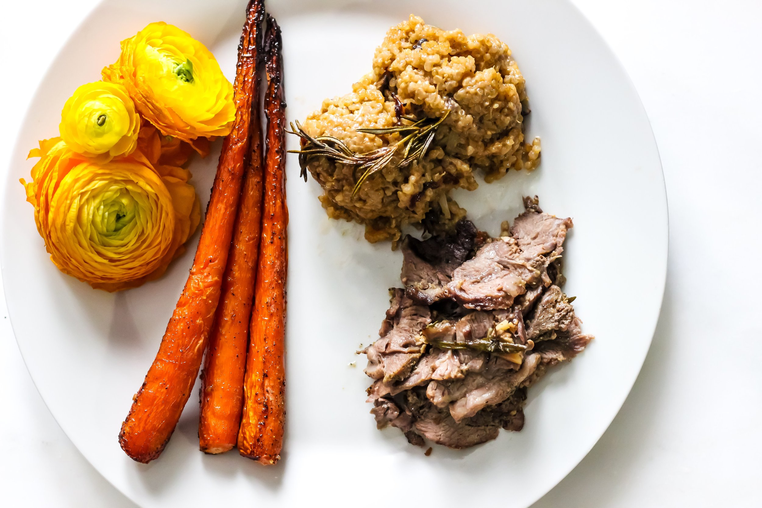 Garlic Herb Stuffed Lamb - with Honey Roasted Carrots and Mushroom Quinoa
