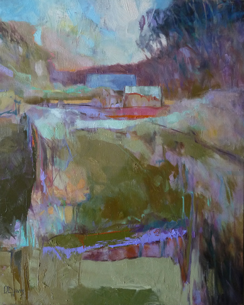 """<i> VALLEY EVENING </i> <br> Oil on canvas <br> 20"""" x 16"""" x .75"""" <br> Price: SOLD"""