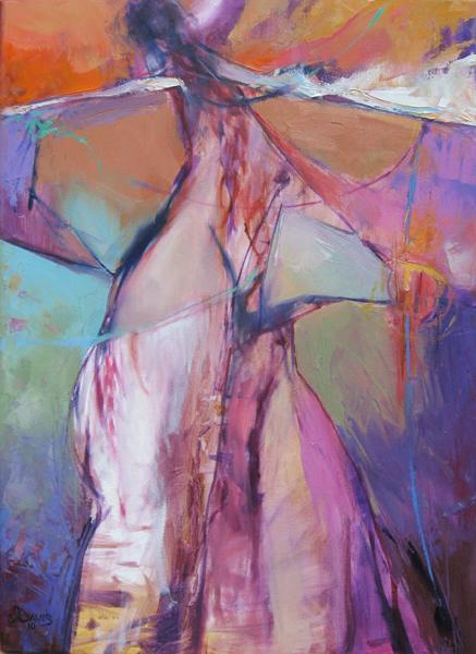 """<i> WHIRLING DANCER </i> <br> Oil on canvas <br> 22"""" x 16"""" <br> SOLD"""