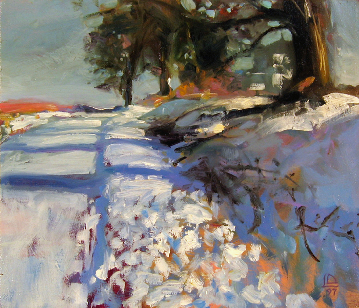 """<i> MORNING SUN AT BARKER'S </i> <br> Oil on canvas <br> 12"""" x 14"""" <br> Price: $2500"""