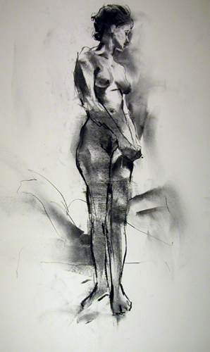 """Frontal Figure 7866    Charcoal on archival paper  25"""" x 15""""  Price: $400"""