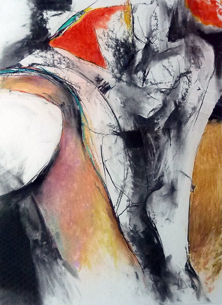 """Lifescape #5    Acrylic and charcoal on paper  24"""" x 18""""  Price: $400"""