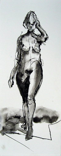 "Walking Model 4751     Ink wash on archival paper  14"" x 4.5""  Price: $300"