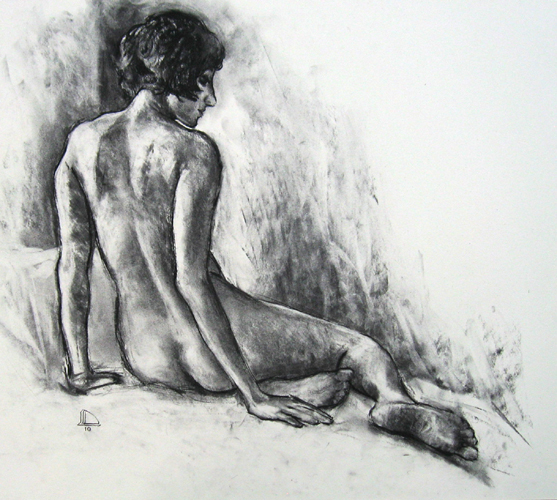 """Seated Figure 5318    Charcoal on paper  18"""" x 20""""  Price: $400"""