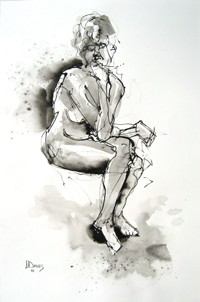"Seated Figure 6668    Ink wash on paper  21"" x 14""  Price: $75"