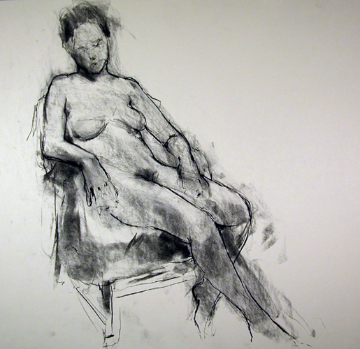 "Seated Figure 7818     Charcoal on archival paper  18"" x 18.5""  Price: $450"