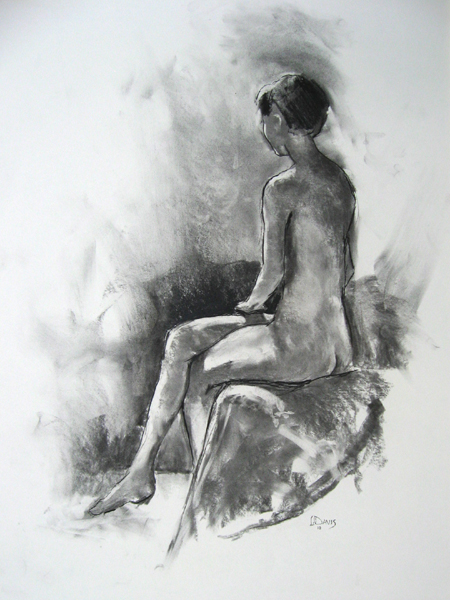 "Seated Model 6604    Charcoal on paper  24"" x 18""  Price: $200"