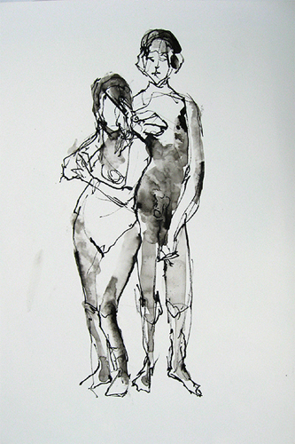 "Standing Models 4745     Ink wash on archival paper  22"" x 14.5""  Price: $400"
