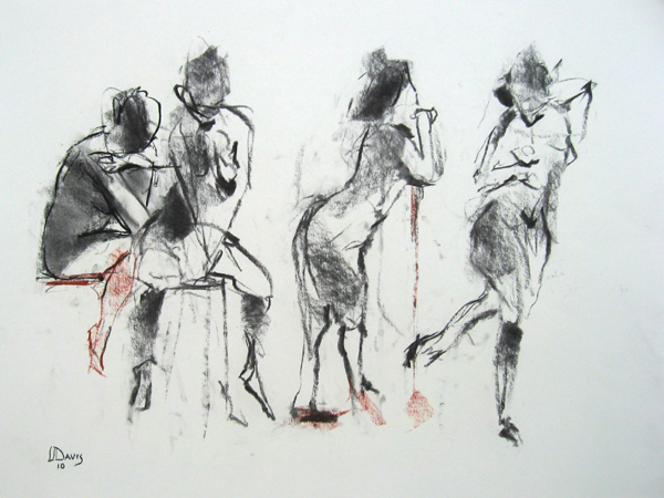 "<i> FOUR VIEWS 6599 </i> <br> Charcoal/conté on paper <br> 18"" x 24"" <br> Price: $200"
