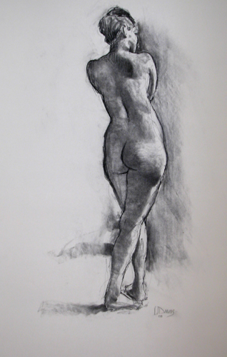 <i> STANDING FIGURE 7845 </i> <br> Charcoal on paper <br> <br> Price: SOLD
