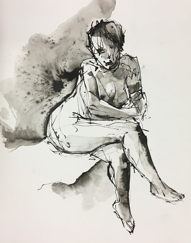 "Figure With Legs Crossed    Ink wash on archival paper  14"" x 11""  Price: $25"