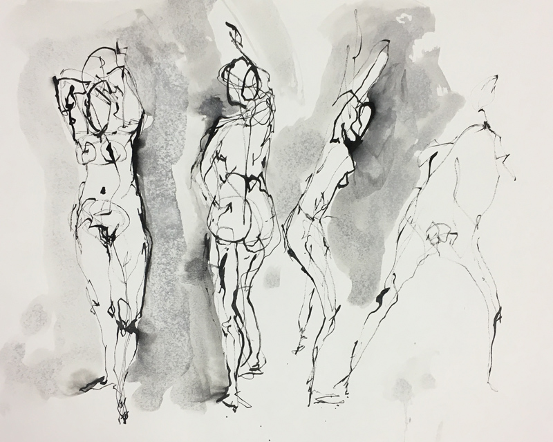 "Four Figures    Ink wash on archival paper  12"" x 15""  Price: $25"