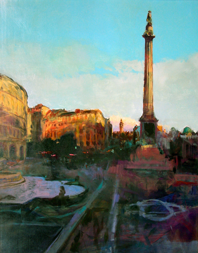 "Sunset, Trafalgar Square    Acrylic on panel  45"" x 36""  Price: $4000"