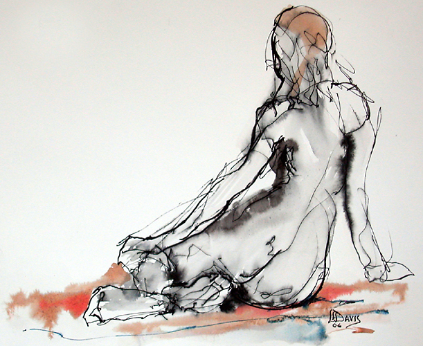 "Seated Figure 8385     Colored ink wash on paper   9"" x 11""   Price: SOLD"