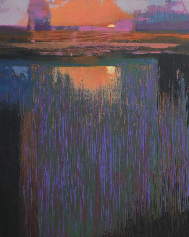 "Sunrise on the Marsh    oil/cold wax on cradled panel  39.75"" x 31.75"" x 1.5""  Price $1000"