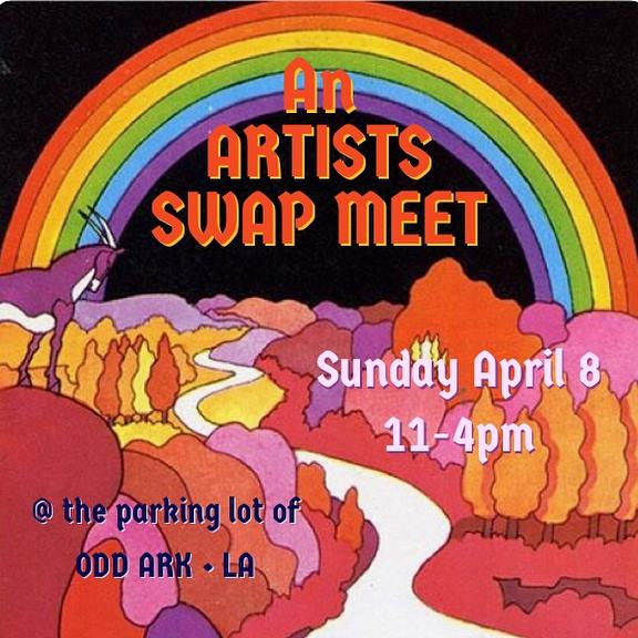 """- ODD ARK • LA invites you to an Artists Swap-MeetWhen: April 8th, 11-4pmLocation: the large parking lot at ODD ARK • LA, 7101 North Figueroa St. 90042What is it?A happening, exhibition, sale, community gathering, cultural exchange and an opportunity to recycle and reduce our environmental footprint. Participants:artists, artist collectives, artists run spaces, art publications.>>> OVER 40 PARTICIPANTS with the work of over 100 artists presented! Exhibition and sale of:original works editionsspecial projects art catalogs and art magazines""""failed"""" works art supplies and toolsstudio furniture studio bric-a-bracFeatured:art workscurated group exhibitionsinstallations performanceTrading:work books and magssupplies info and stories*Event curated by opportunity, chance and serendipity.----------------------------------------------------Participants keep 100% of sales!"""