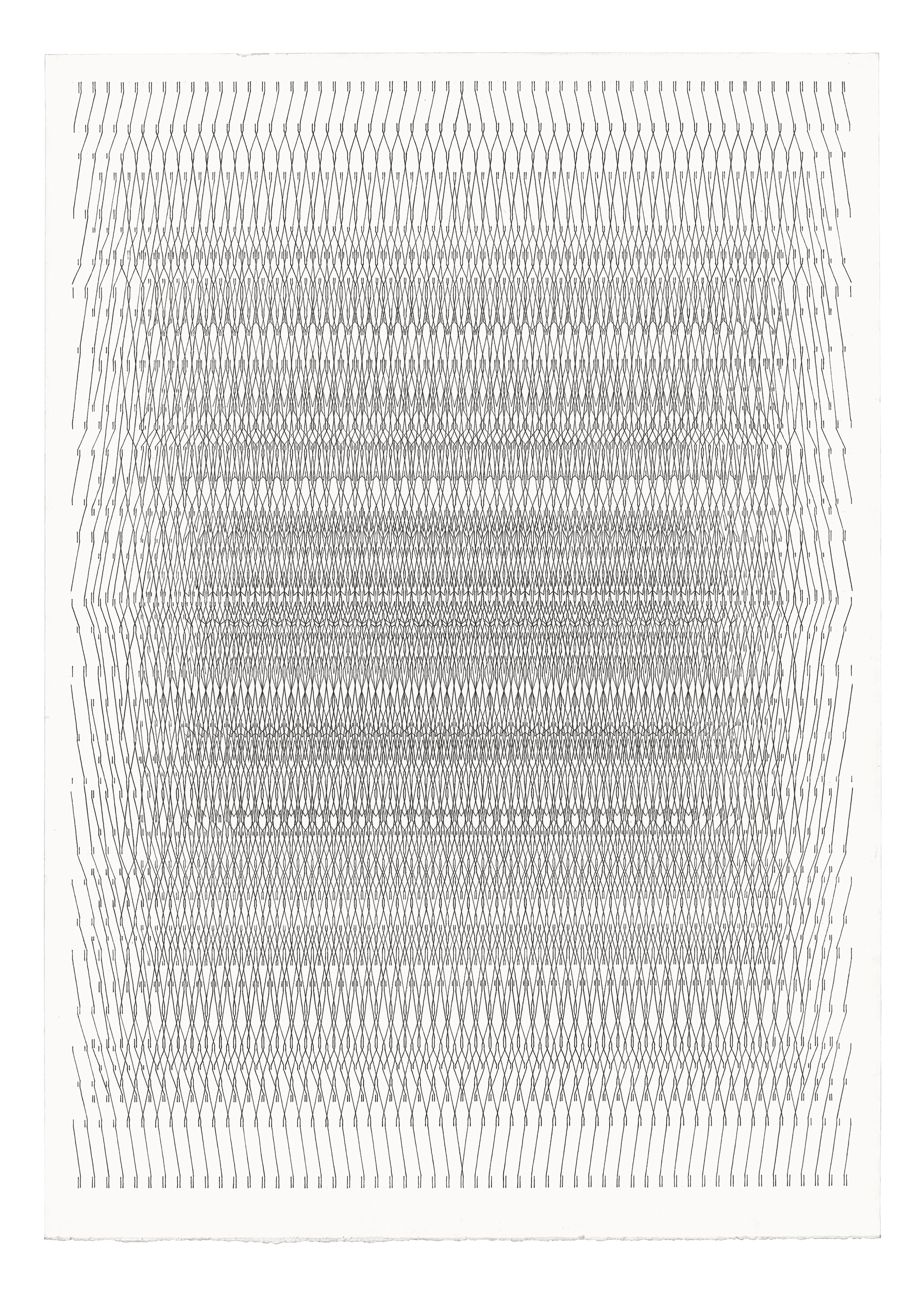 ODD ARK•LA is pleased to announce The Symmetry of Separation, a solo exhibition by Los Angeles-based artist Brian Randolph. In each of these recent ink on paper works, Randolph has used a restrained drawing vocabulary of vertical and diagonal lines to create a complex symmetrical field configuration. Interconnected patterns in rows like lines of abstract multi-dimensional text emerge from the center of a highly ordered nest, blurred towards the edge by a visual delay.   With titles like  Pulse Scroll  and  Breathing Page  the drawings visualize a kind of illuminated manuscript floating in hyperspace. A swarm of component parts hanging together in a fragile balance, evoking the bioelectric field of the body, the vibrating superstrings of theoretical physics, and the emerging and dissolving patterns of light seen in altered states of consciousness.  Randolph's works are resonant with the time spent making them and the patient cultivation of a precise image drawn by hand. Imperfections in the line, slight compressions of the grid, traces of erased graphite and the handling of the paper remain as an index of a diligent process.  Brian Randolph received a BFA from the Maryland Institute College of Art in 2001. His work has appeared in solo exhibitions at Gallery Four and School 33 in Baltimore. In 2017, Randolph was included in Parallel Cities at Ms. Barber's, and Set The Table at BBQ LA, both in Los Angeles. Other group exhibitions include Tillou Fine Art and Spring Break Art Show, New York, LAVA Projects, Steve Turner Gallery, and La Cienega Projects, Los Angeles, and Zic Zerp in Rotterdam.   For more information please contact  odd.ark.la@gmail.com