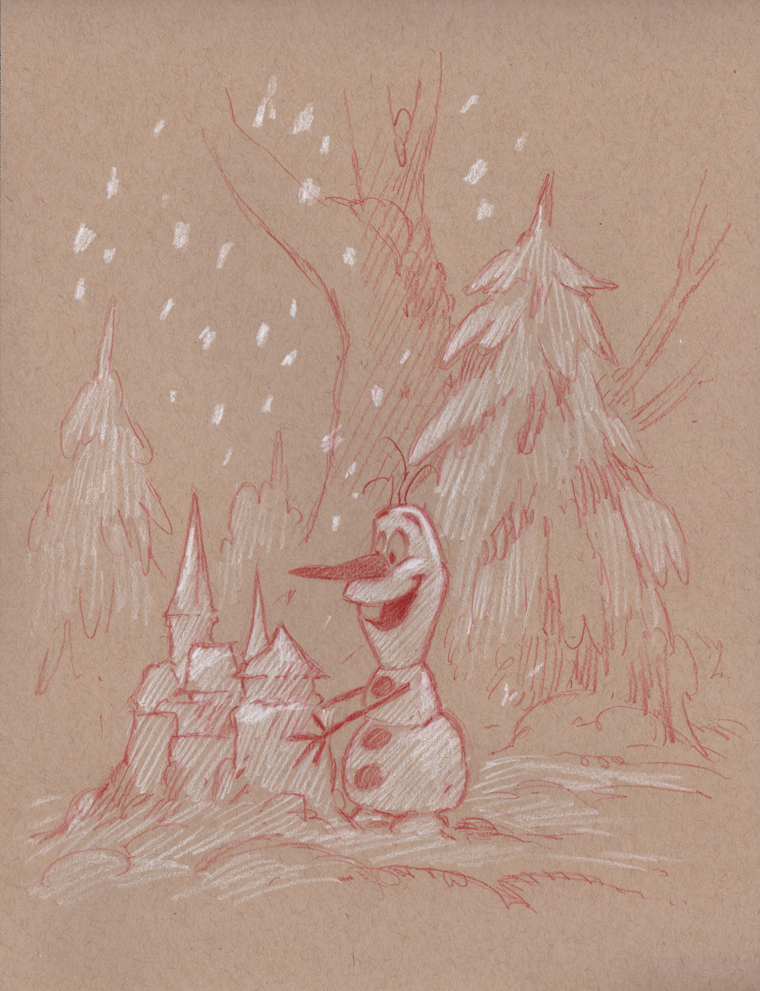 Olaf's Snow Castle (Drawing) -