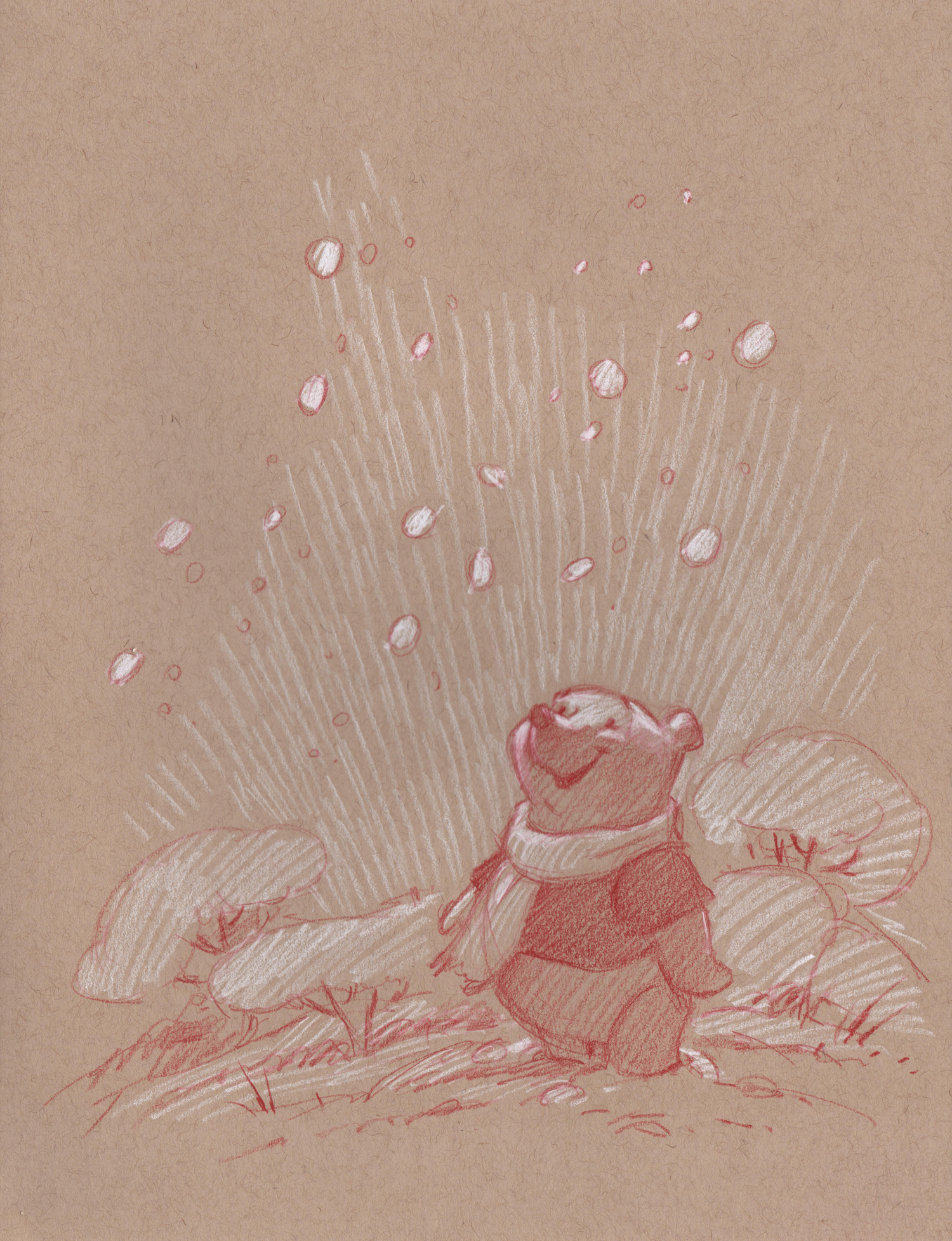 Winnie the Pooh with Snowflakes (Drawing) -
