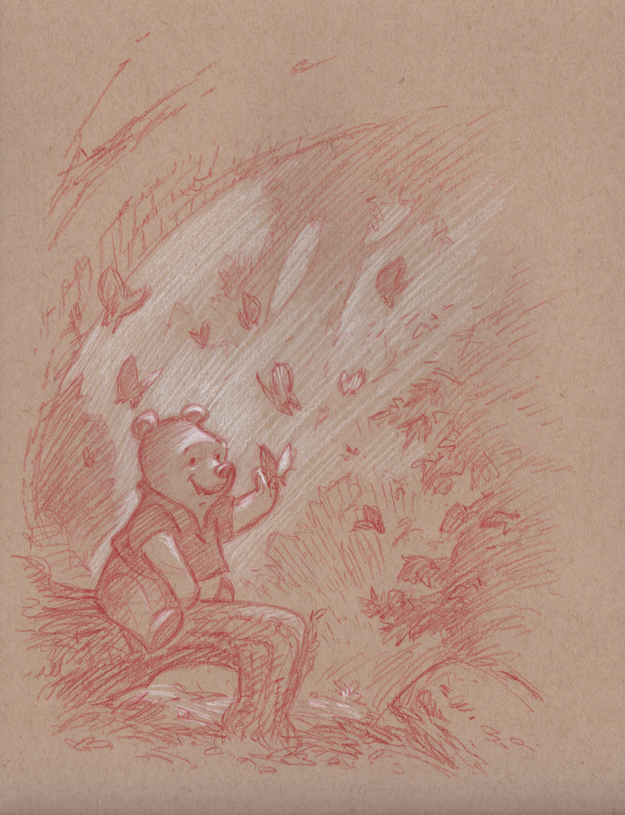 Winnie the Pooh with Butterflies 1 (Drawing) -